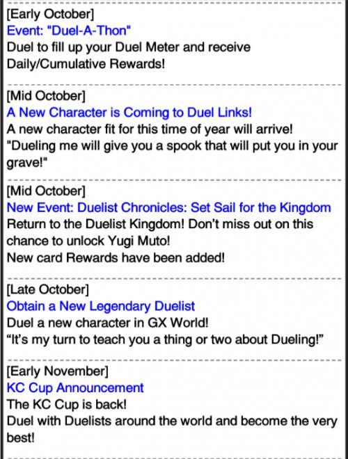 Upcoming events/updates [October] | YuGiOh! Duel Links - GameA